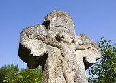 foto of crucifix  - Old crucifix gravestone in Pyrohiv near Kyiv Ukraine - JPG