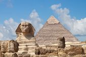 foto of human pyramid  - Sphinx and Pyramid in Giza - JPG