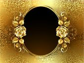 picture of oval  - Oval banner with two gold roses on a background of gold brocade - JPG