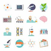 pic of scientist  - Science and research icon flat set with scientist lab and equipment symbols isolated vector illustration - JPG