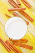 picture of soybean milk  - fresh milk with cinnamon on a table - JPG