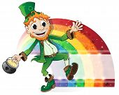 stock photo of pot gold  - Leprechaun with a pot of gold on rainbow background - JPG