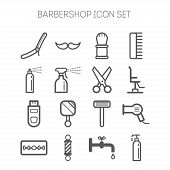 picture of barbershop  - Set of simple monochromatic isolated barbershop icons - JPG