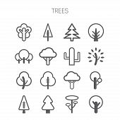 picture of monochromatic  - Set of simple isolated monochromatic tree icons - JPG