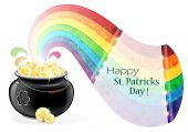 picture of gold panning  - Leprechaun pot with gold coins and rainbow on white background - JPG