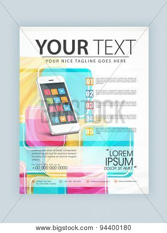 Creative template, banner or flyer design with smartphone presentation for your business and corporate sector.