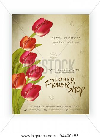 Flower Shop template, banner or flyer design decorated with beautiful flowers.