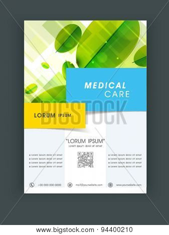 Creative Medical Care flyer, banner or template design with green leaves.
