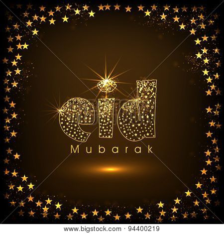Elegant greeting card with golden text Eid Mubarak on stars decorated shiny brown background for Muslim community festival celebration.