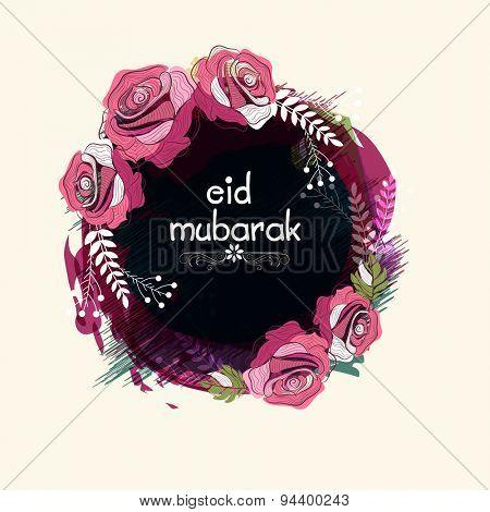 Beautiful flowers decorated rounded frame for famous festival of Muslim community, Eid Mubarak celebration.