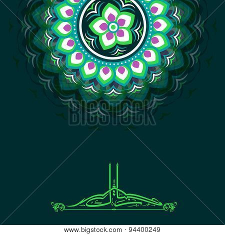 Beautiful artistic floral design dedocrated greeting card with Arabic Islamic calligraphy of text Eid Mubarak for Muslim community festival celebration.