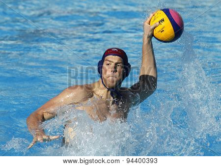 BARCELONA - MAY, 28: Ante Viskovic of Vaterpolski klub Jug Dubrovnik during a LEN Champions League Final Six match against ZF Eger at the Picornell Swimming pool on May 28 2015 in Barcelona Spain