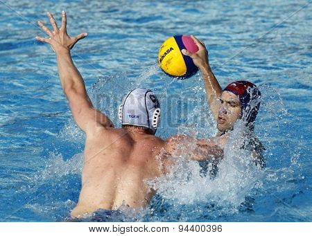 BARCELONA - MAY, 28: Pavo Markovic of Vaterpolski klub Jug Dubrovnik during a LEN Champions League Final Six match against ZF Eger at the Picornell Swimming pool on May 28 2015 in Barcelona Spain