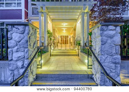 Entrance of a house at dusk in Vancouver, Canada.