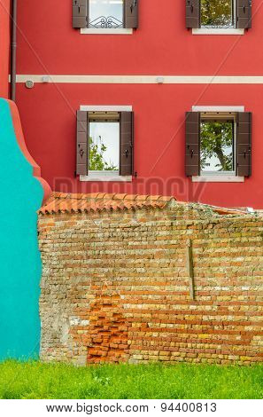 Colorful apartment building with nice view in Burano, Venice, Italy.