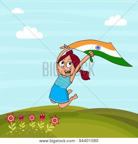 Cute little girl holding Indian national flag and jumping high on nature background for Independence Day celebration.