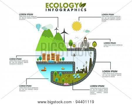 Creative stylish save ecological infographic layout with city view for print or presentation.