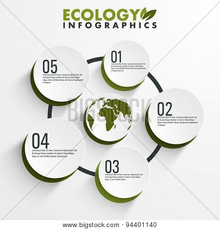 Creative infographic circles with numerals around the globe for ecology concept.