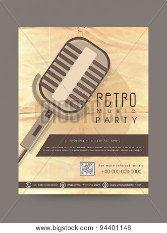 Retro Musical Party celebration poster or invitation design decorated with microphone.