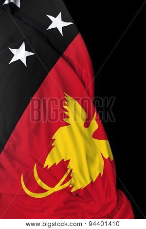 Papua New Guinea waving flag on black background
