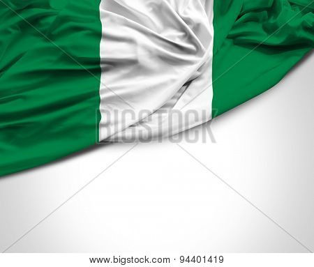 Nigerian waving flag on white background