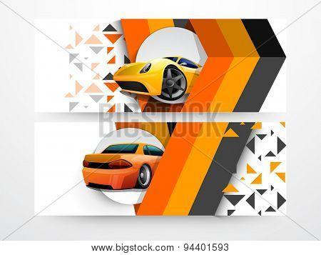 Set of automobile website banner or header with illustration of car.