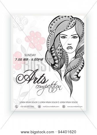 Creative template, banner or flyer with illustration of young modern girl face for Arts Competition.