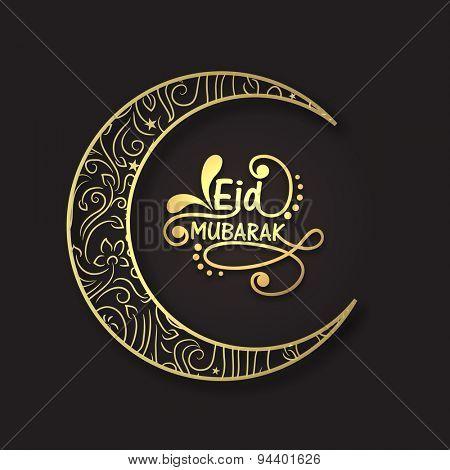 Beautiful artistic floral design decorated crescent moon for famous Islamic festival, Eid Mubarak celebration.
