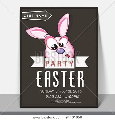Stylish greeting or invitation card design with funny face of bunny for Easter Party celebration.