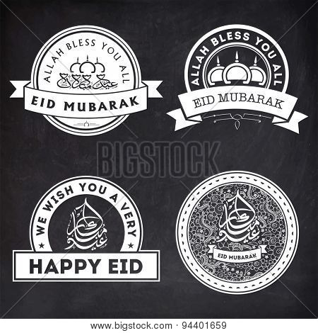 Set of stylish stickers or labels design with Arabic Islamic calligraphy of text Eid Mubarak on chalkboard background for Muslim community festival celebration.