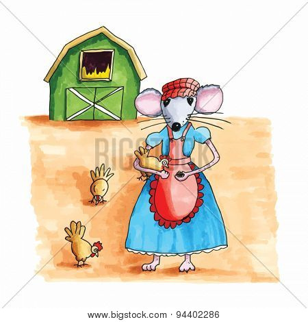 From the series mouse - farmers wife feeding the chicken