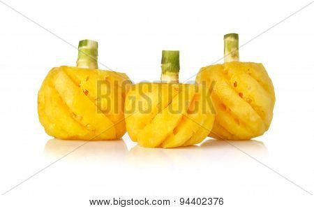 Small Pineapple With Stem On White Background