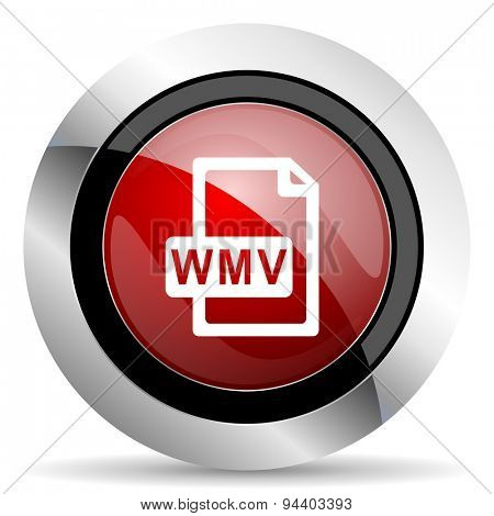 wmv file red glossy web icon  original modern metallic and chrome design for web and mobile app on white background