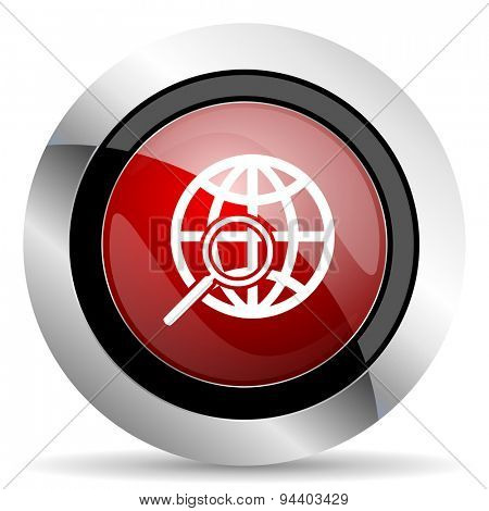 search red glossy web icon  original modern metallic and chrome design for web and mobile app on white background