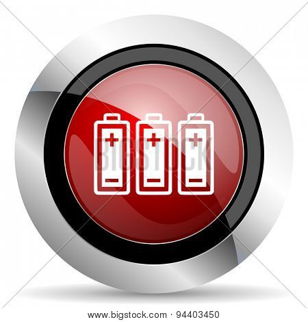 battery red glossy web icon original modern metallic and chrome design for web and mobile app on white background