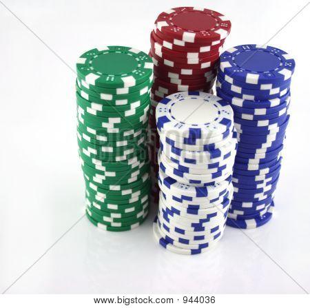 4 Stacks Of Casino Chips