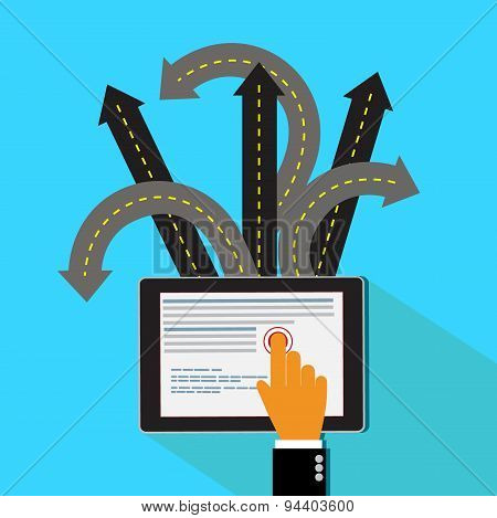 Roads, over crossing, tablet, hand, vector, business