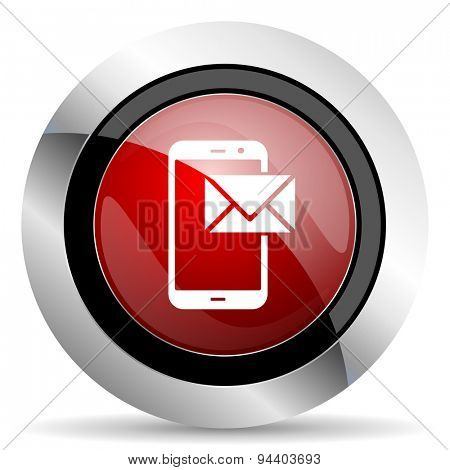 mail red glossy web icon original modern metallic and chrome design for web and mobile app on white background