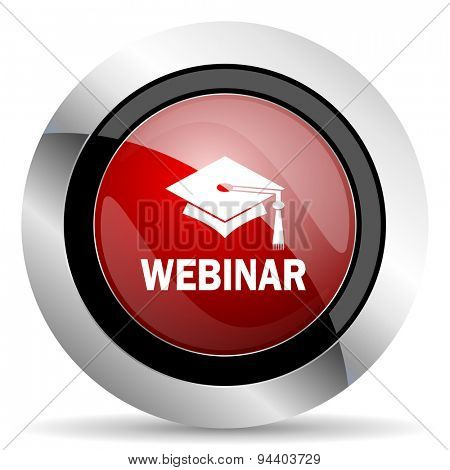 webinar red glossy web icon original modern metallic and chrome design for web and mobile app on white background