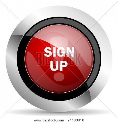 sign up red glossy web icon original modern metallic and chrome design for web and mobile app on white background