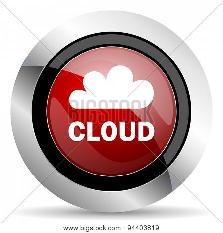 cloud red glossy web icon original modern metallic and chrome design for web and mobile app on white background