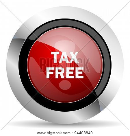 tax free red glossy web icon original modern metallic and chrome design for web and mobile app on white background