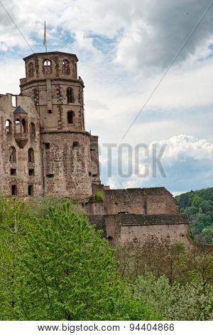 Ruins of Historic Heidelberg Castle Nestled in Lush Green Hillsides Overlooking Heidelberg, Baden-Wurttemberg, Germany
