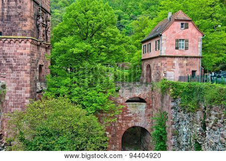 Archway and Renovated Portion of Historic Heidelberg Castle in Lush Green Hills of Baden-Wurttemberg, Germany