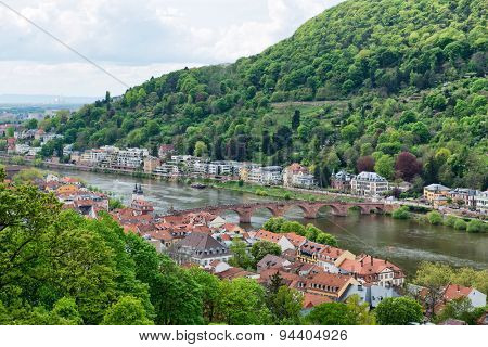 Overview of Old and New Town Neighborhoods on Banks of Neckar River Spanned by Old Bridge, Heidelberg, Baden-Wurttemberg, Germany