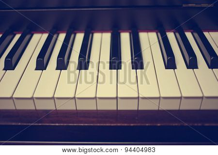 Close-up Of Piano Keys. Close Frontal View : Vintage Filter
