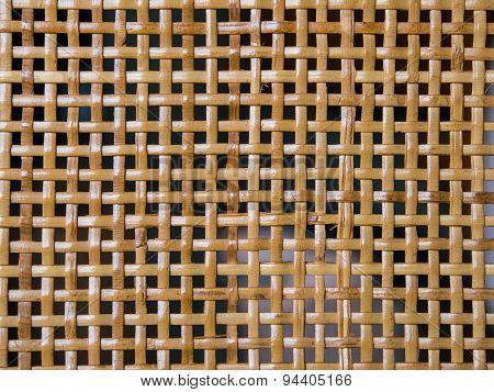 wickerwork from  stalks of rattan