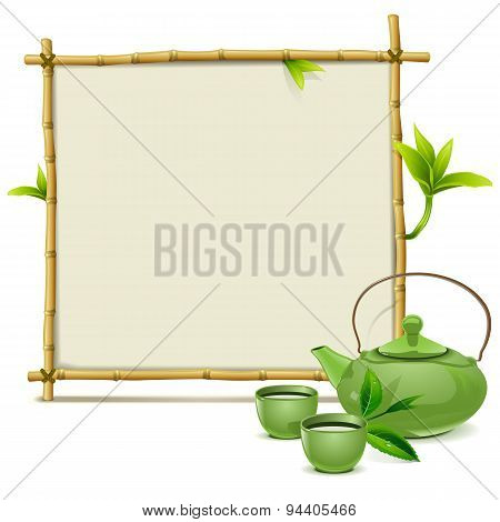 Vector Bamboo Frame With Green Tea