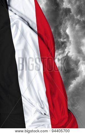 Yemen waving flag on a bad day