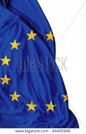 European waving flag on white background
